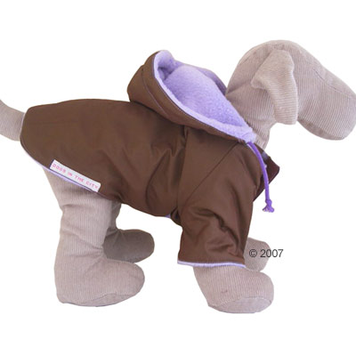 Pullover Coat - Dog Coat With Hood And Sleeves Brown/Purple - Size M